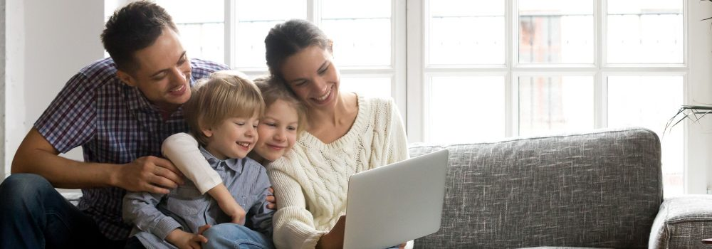 Happy family getting home improvement offers - Northern Virginia - Designer Windows & Siding LLC